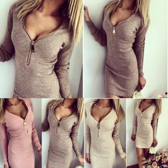 Moonar Women's Fashion Sexy Zipper Deep V-neck Long Sleeve Hip-cover Slim Figure Bodycon Midi Dress M-XL (Grey) - intl