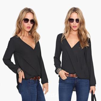 Moonar Women's Fashion Long Sleeve V-neck Chiffon Blouse Tops T-shirt Size S-XL (Black) - intl