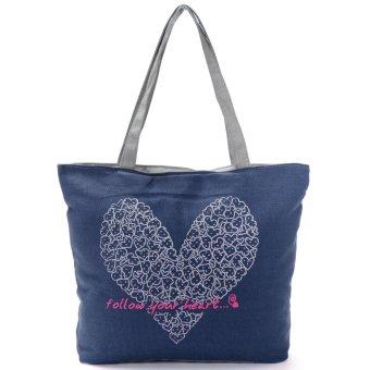 Teamtop Printing Canvas Bags Women Handbag Fashion Shoulder Shopping bag Totes Blue - intl