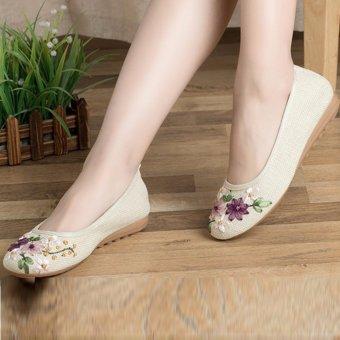Giày lười búp bê lót cói, đính hoa, đế cao su MDH-GN3273(EU: 35-39, trắng)