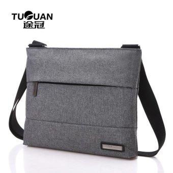 Lan-store Premium Quality Male / Female Bag-- TUGUAN Solid Color Canvas Shoulder Bag Messenger Bag Man Bag Simple Fashion Business Horizontal Paragraph Briefcase (Grey) - intl