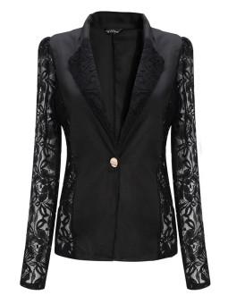 ZANZEA Women Lace Crochet Splicing One Button Suit Blazer Coat Black - Intl