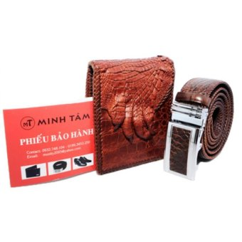 Bộ thắt lưng và ví nam da cá sấu Minh Tâm MT120TVs (Nâu)