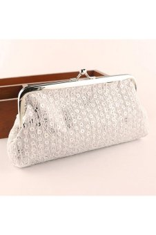 Women Lovely Style Lady Wallet Hasp Sequins Purse Clutch Bag White - intl