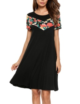 Cyber Women Fashion O-Neck Short Sleeve Floral Applique Patchwork Soft Loose Dress ( Black ) - intl