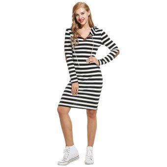 Linemart Women Casual Long Sleeve Hooded Pullover Striped Sheath Dress ( Black + White ) - intl