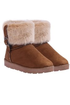 Cyber Women'S Fur Pu Leather Snow Boots Ankle Boots Warm Shoesr (Brown) - Intl