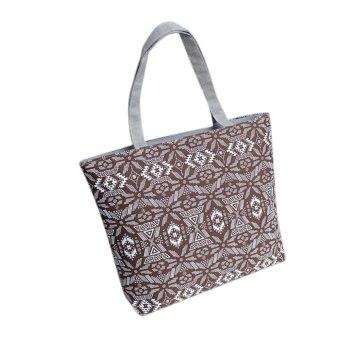 Fashion Women Girls Printing Canvas Shopping Handbag Shoulder Tote Shopper Bag Coffee - intl