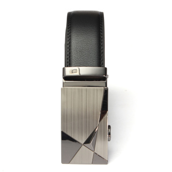 Fashion Mens Genuine Leather Alloy Automatic Buckle Waist Strap Belts Waistband (Intl)
