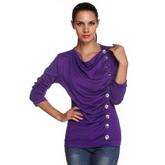 Sunweb Stylish ANGVNS Ladies Women Pleated O-neck Long Sleeve Solid Top Blouse ( Purple ) - intl