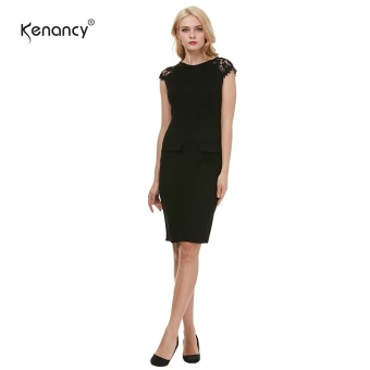 Kenancy Womens Elegant Lace Patchwork Sleeve Round Neck Cap Sleeve Work Office Work Cocktail Party Stretch Sheath Bodycon Dress - intl