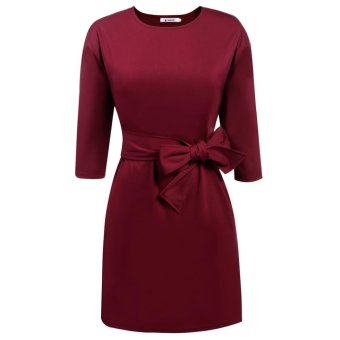 Linemart Women 3/4 Sleeve Solid Tie-Belt Party Office Business Dress with Pockets ( Dark Red ) - intl
