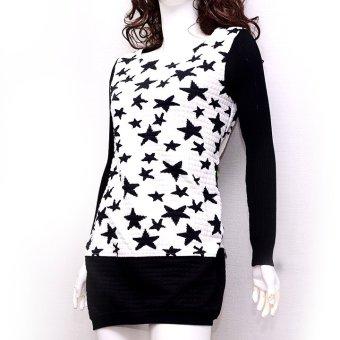 Áo sweater dáng dài MiDu Fashion (Trắng Đen)