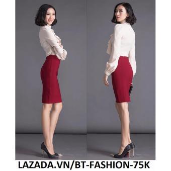 Váy Công Sở Thời Trang Cao Cấp - BT Fashion VCS003B (Dài - Xẻ Sau - Đỏ)