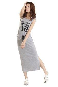 Đầm thun dài dáng suông cổ tròn xẻ tà cột dây không tay thể thao thời trang dạo phố bộ đồ Hàn Quốc Urban Horizon FM0056 (Xám nhạt)