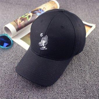 Men Women Hand Peaked Hat HipHop Curved Snapback Dance Baseball Cap Adjustable Black - intl
