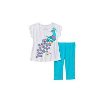 Bộ quần áo thun bé gái Xanh Trắng – Healthtex