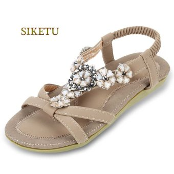 SIKETU Bohemia Beads Open Toe Elastic Band Gladiator Sandals(Apricot) - intl