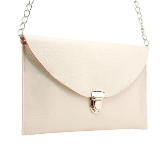 niceEshop Fashion Women Leather Handbag Shoulder Chain Bags Envelope Clutch Crossbody Satchel Purse ,Creamy White - intl