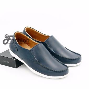 Giày Mọi Nam Đơn Giản Da Thật Đế Trắng GM269 (Xanh navy)
