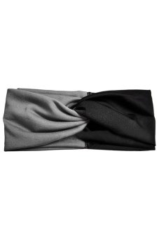 Bluelans Women Twist Headband Head Wrap Twisted Knotted Knot Yoga Hair Band Grey+Black (Intl)