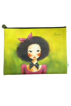 Túi cầm tay lớn Fascy Curly Hair Tina (Xanh)