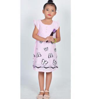 Đầm thêu bướm Somy Kids hồng phấn