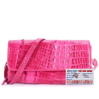 HL6250 - Túi xách nữ da cá sấu đeo chéo 2 gai màu hồng