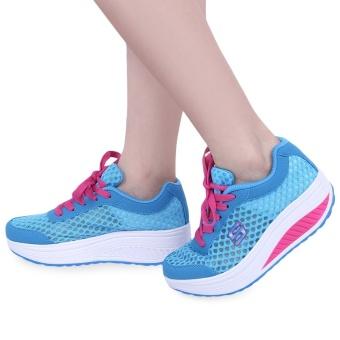Casual Mesh Color Block Lace Up Ladies Platform Shoes(Blue) - intl