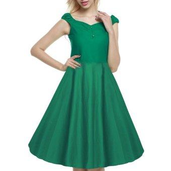 Cyber ACEVOG Retro Women 1950s Vintage Style Sleeveless Swing Party Midi Dress - Intl