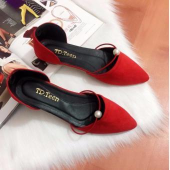 Giày Búp Bê Đính Châu (Đỏ)
