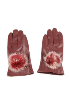 Fancyqube Autumn And Winter Style Cold Warm Cashmere Gloves Burgundy - Intl
