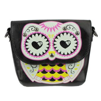 Fashion Owl Printed Pattern Diagonal Package Shoulder Bag Mini Packet Black - Intl