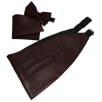 Men Satin Cummerbund Bowtie Hanky Handkerchief Set with Gift Box for Wedding Musical Band Graduation Celebration Coffee - intl