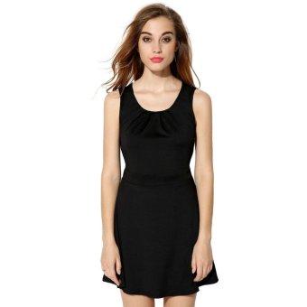 Sunweb FINEJO Stylish Ladies Women Sexy O-neck Sleeve Hollow Out Bowknot Mini Dress ( Black ) - intl