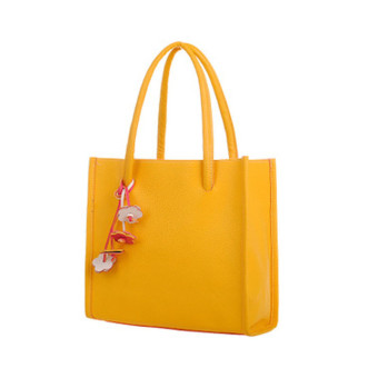 Fashion girls handbags leather shoulder bag candy color flowers totes Yellow - Intl