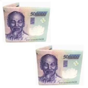 Bộ 2 Ví Da In Hình Tiền 500 VND