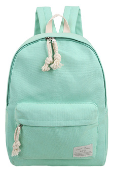 Girls Student Pure Color Multi-purpose Canvas Schoolbag School Outdoor Travel Backpack Tablet Carry Bag Green