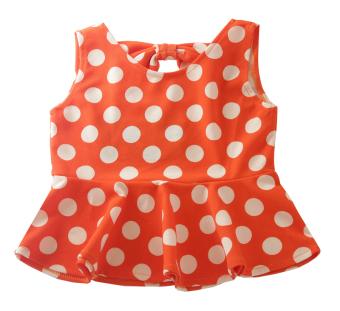 Áo peplum thun xốp chấm bi bé gái 1-10 tuổi Tri Lan ABG010 (Cam bi trắng)