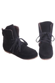 LALANG Women Flat Heel Lace-Up Plus Velvet Boots Martin Boots Casual Black - intl