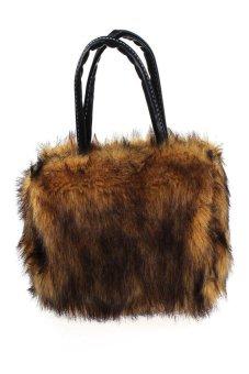 HKS Women Plush Handbag Autumn Winter handbag Shoulder Bag Purse Tote Coffee - Intl - intl