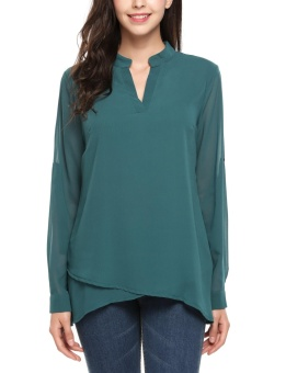 Cyber Women Notch Neck Long Sleeve Solid Casual Double Layers Chiffon Blouse ( Green ) - intl