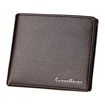 Men Leather Card Cash Receipt Holder Organizer Bifold Wallet Mini Purse - intl