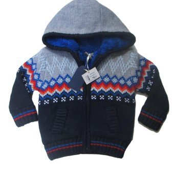Áo khoác len có nón cho bé trai Luvable Friends (Xanh)
