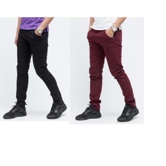 Bộ 2 quần kaki chinos TITISHOPVN QK02 QK06 (Đỏ đen )