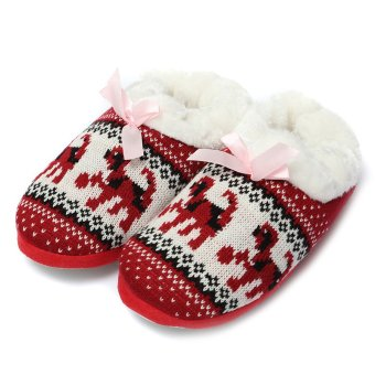 Women Comfort Warm Soft Indoor Outdoor Home Slippers Shoes Puppy Snowflake Heart Red - intl