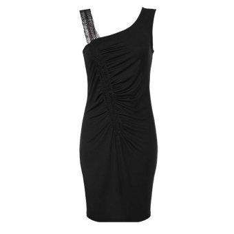 Sunweb Meaneor Women Sexy Stylish Lace Strap Irregular Neck Sleeveless Party Cocktail Dress ( Black ) - intl