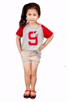 Áo Thun Tay Raglan Số 9 Đắp Nổi Genii Kids (Xám)