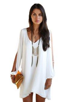 LALANG Women Chiffon+Lace Mini Dress White - Intl