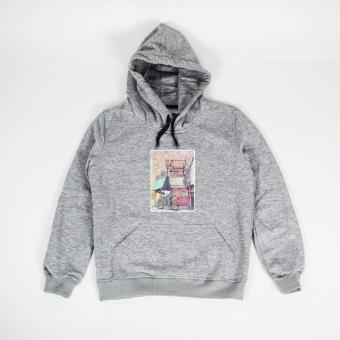 Áo khoác hoodie nữ in hình Bicycle Boy (xám nhạt)